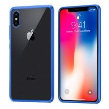 Carcasa IPhone X Borde Metalizado (Azul)